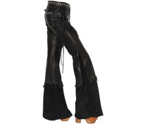 FRINGED NAPPA & SUEDE FLARED PANTS