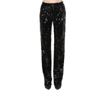 SEQUIN EMBELLISHED STRAIGHT LEG PANTS