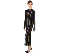 SEQUINED STRIPED STRETCH KNIT LAMÉ DRESS