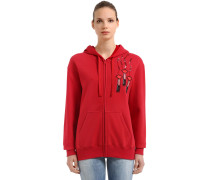 EMBELLISHED LOGO  ZIP-UP SWEATSHIRT