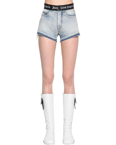 LOGO BAND COTTON DENIM SHORTS