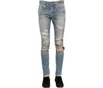 15CM JEANS AUS STRETCH-DENIM MIT RISSEN 'SUPER'