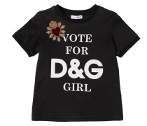 T-SHIRT AUS BAUMWOLLJERSEY 'VOTE FOR D&G GIRL'