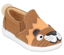 SLIP-ON-SNEAKERS AUS BAUMWOLLGABARDINE 'LION'