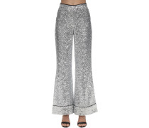 SEQUINED FLARED PAJAMA PANTS