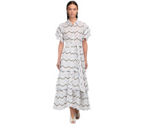 EMBROIDERED COTTON POPLIN LONG DRESS
