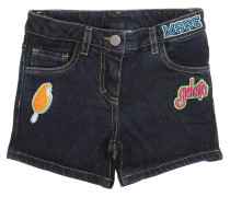 SHORTS AUS STRETCH-BAUMWOLLDENIM MIT PATCHES