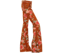 FLORAL PRINTED FLARED SUEDE PANTS