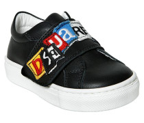 LEDERSNEAKERS MIT LOGOPATCHES