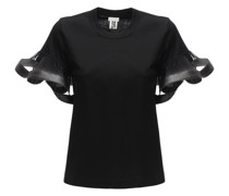 COTTON T-SHIRT W/TULLE SLEEVES