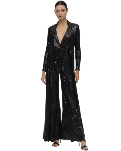 LONG SEQUINED JUMPSUIT W/ SCARF