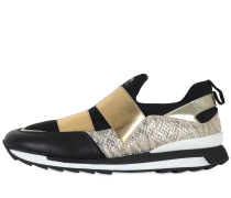 SLIP-ON-SNEAKERS AUS LEDER MIT SCHLANGENDRUCK