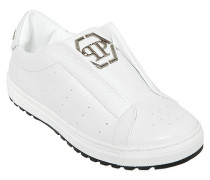 SLIP-ON-SNEAKERS AUS LEDER IT LOGOPLAKETTE