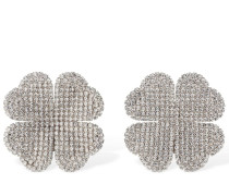 CRYSTAL 4-LEAF CLOVER CLIP-ON EARRINGS