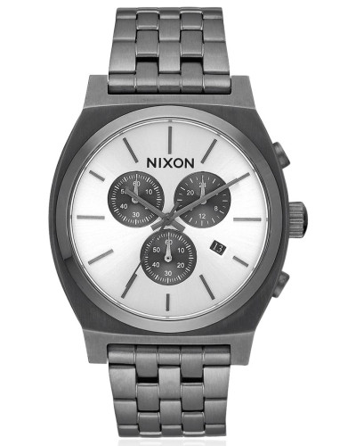 nixon damen time teller chrono watch with white dial. Black Bedroom Furniture Sets. Home Design Ideas
