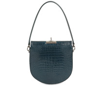 DEMILUNE CROC EMBOSSED LEATHER BAG
