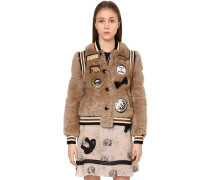 BOMBERJACKE AUS SHEARLING MIT PATCHES