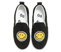 SLIP-ON-SNEAKERS AUS LEDER UND SAMT 'SMILE'