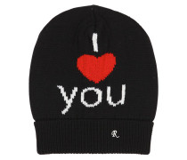 BEANIEMÜTZE AUS WOLLJACQUARD 'I LOVE YOU'
