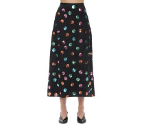 KELLY SEQUINED POLKA DOT SATIN SKIRT