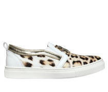 SLIP-ON-SNEAKERS AUS LEDER MIT LEOPARDENDRUCK