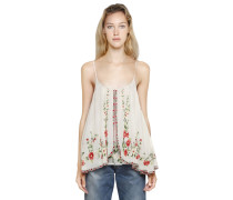 EMBROIDERED COTTON VOILE TOP