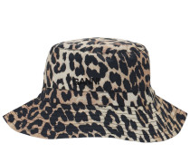 LEOPARD PRINT COTTON POPLIN BUCKET HAT