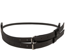 HIGH WAISTED DOUBLE BUCKLE LEATHER BELT