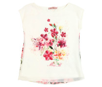 FLORAL EMBELLISHED CREPE & CHIFFON TOP