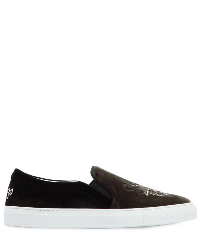 SLIP-ON-SNEAKERS AUS LEDER UND VELOURS
