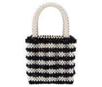 ANTONIA BEADED BICOLOR TOP HANDLE BAG