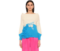 FLOWERS EMBROIDERED WOOL BLEND PULLOVER