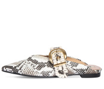 10MM PYTHON PRINTED LEATHER MULES