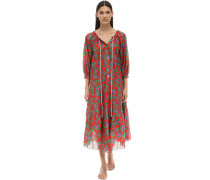 NATALIA FLORAL PRINT SILK & COTTON DRESS