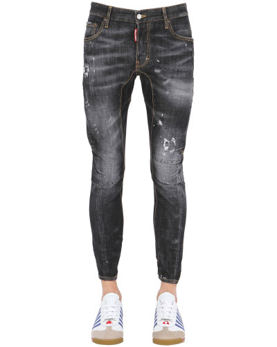 dsquared herren 16cm jeans aus stretch denim 39 tidy biker. Black Bedroom Furniture Sets. Home Design Ideas