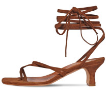 45MM SUEDE TOE RING LACE-UP SANDALS