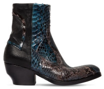 50MM LEATHER & PYTHON SKIN ANKLE BOOTS