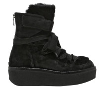 60MM HOHE WEDGE-STIEFEL AUS WILDLEDER & SHEARLING