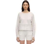 SHEER STRIPED WOOL BLEND KNIT PULLOVER