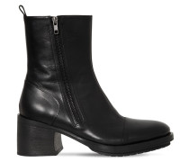 75MM ZIPPED LEATHER BOOTS