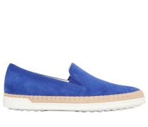 20MM HOHE SLIP-ON-SNEAKERS AUS RAFFIA & WILDLEDER