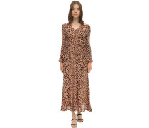 PIPER LEOPARD PRINT SILK KNIT DRESS