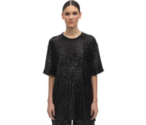 OVER SEQUINS ROUND NECK T-SHIRT