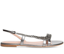 10MM EMBELLISHED METALLIC LEATHER SANDAL
