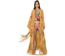 FLORAL PRINTED FRINGED LONG SUEDE COAT