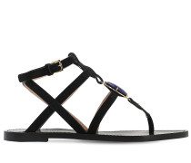10MM EMBELLISHED SUEDE THONG SANDALS