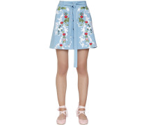 EMBROIDERED STRETCH COTTON MINI SKIRT