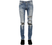 15CM JEANS AUS DENIM MIT DENIM-PATCHES UND NIETEN