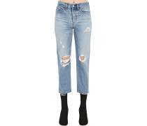 501 HIGH WAIST CROPPED DESTROYED JEANS