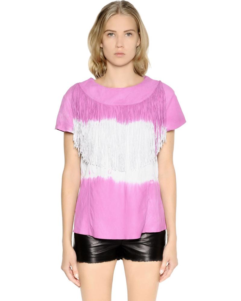drome damen oberteil aus nappaleder im tie dye mit fransen. Black Bedroom Furniture Sets. Home Design Ideas